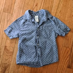 Faded Glory Button Up Short Sleeve Top
